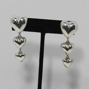 Vintage Sterling Silver Ture Heart Dangle Earrings